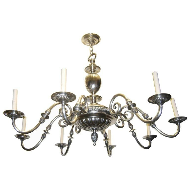 Large Silver Plated Neoclassic Chandelier