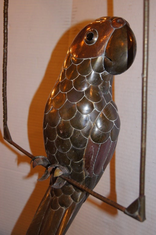 Mexican Hammered Metal Bird Sculpture For Sale