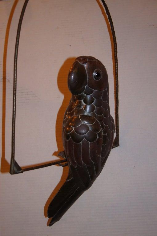 Gilt Hammered Metal Bird Sculpture For Sale