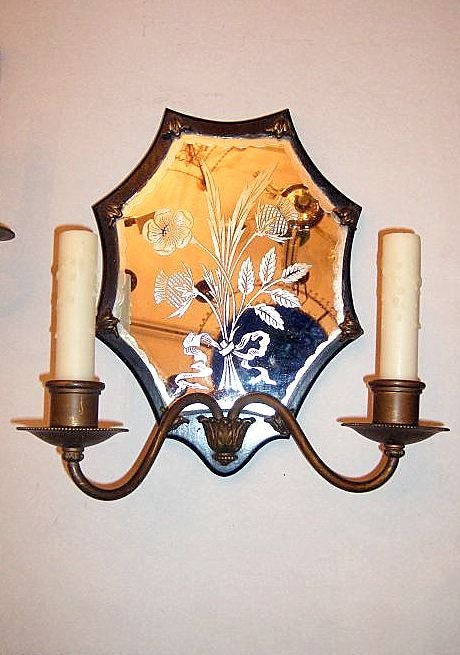 American Pair of Mirrored Sconces For Sale