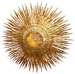 Large Gilt Iron Sunburst Light Fixture