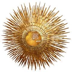 Large Gilt Iron Sunburst Light Fixture