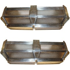 Pair of Large Art Deco Flush Mounted Fixtures
