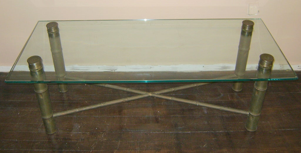 Mid-20th Century Faux Bamboo Coffee Table For Sale