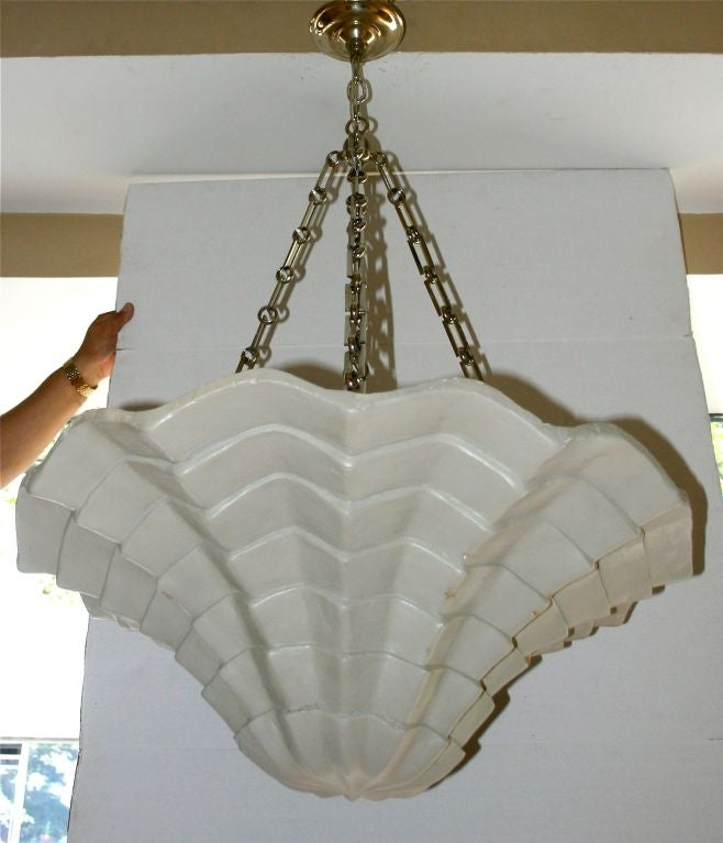 Pair Of Large Shell Plaster Fixtures For Sale At 1stdibs