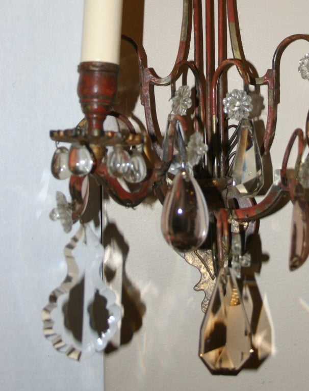 Painting Brass Wall Sconces : Pair of Painted Metal Sconces at 1stdibs