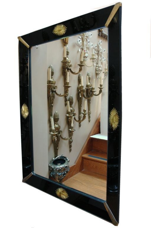 Pair of black glass venetian mirrors for sale at 1stdibs for Black venetian mirror