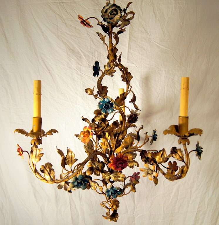 Gilt Metal Floral Chandelier For Sale