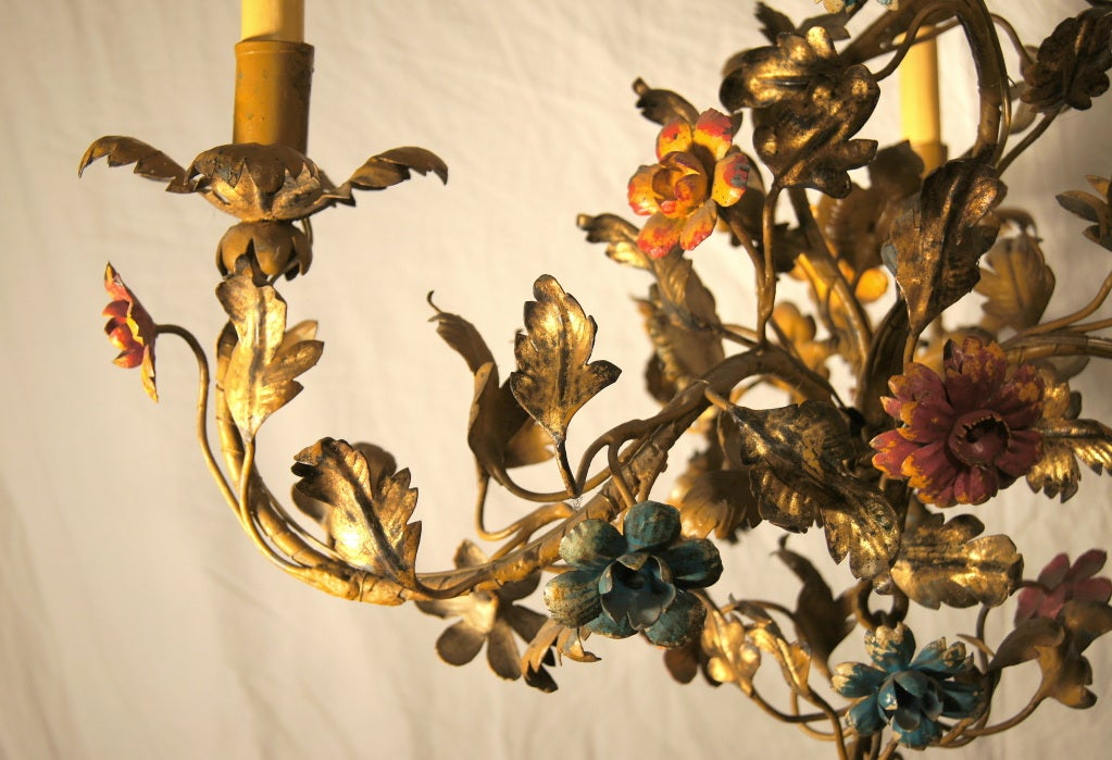 Italian Gilt Metal Floral Chandelier For Sale