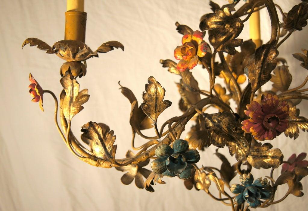 Gilt Metal Floral Chandelier 3