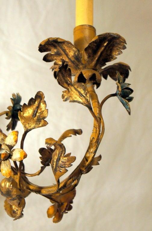 Gilt Metal Floral Chandelier 4