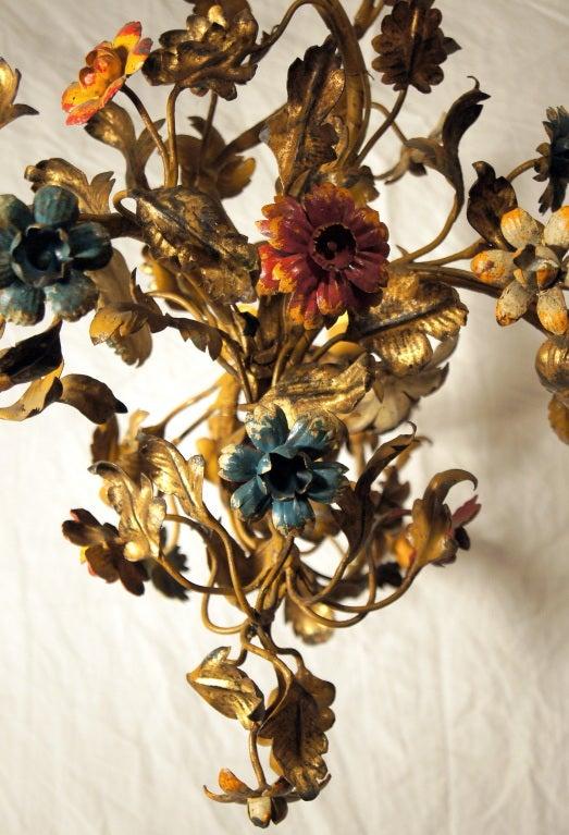 Gilt Metal Floral Chandelier 5