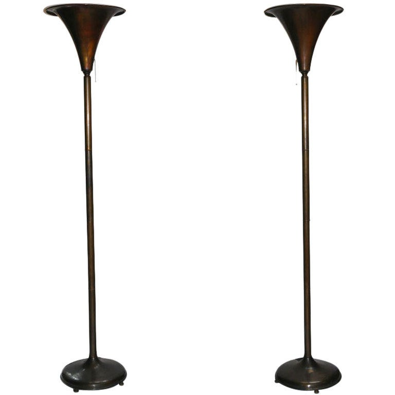 Pair of bronze torchiere floor lamps at 1stdibs for 1940s torchiere floor lamp