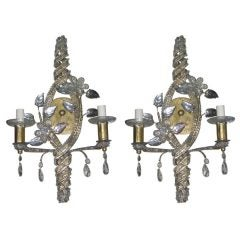 Pair of Gilt Sconces with Crystals