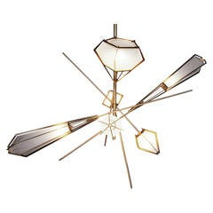 Harlow Large Chandelier (Satin Brass) by Gabriel Scott