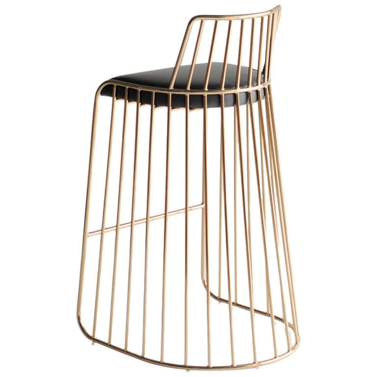 Bride's Veil Counter Stool with Back by Phase at 1stdibs