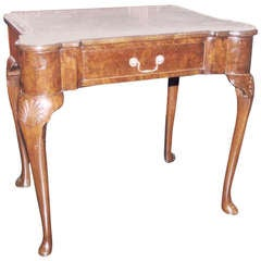Late 19th Century Walnut Side Table with Gray Marble Top