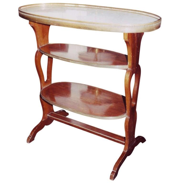 19th Century Three-Tier Mahogany Side Table