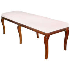 Late 19th Century Upholstered Walnut Bench