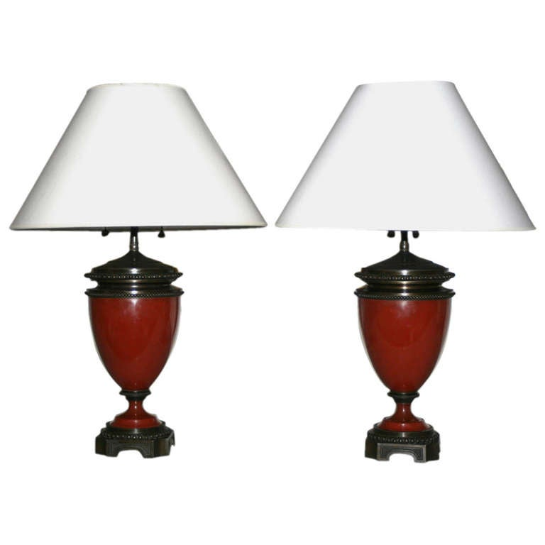 Pair of Mid 19th Century Red Porcelain and Patinated Bronze Vase Shaped Lamps