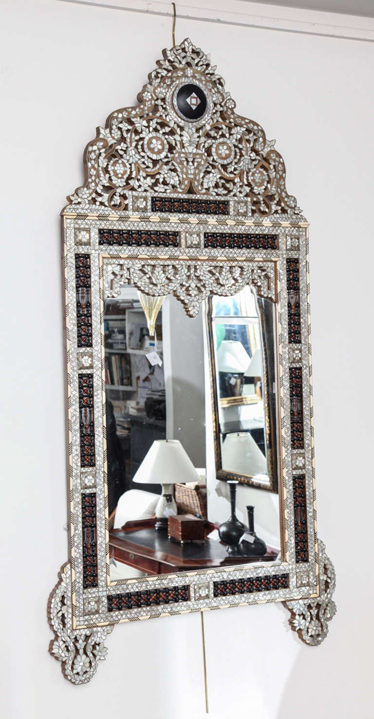 Ivory And Mother Of Pearl Inlaid Mirror At 1stdibs