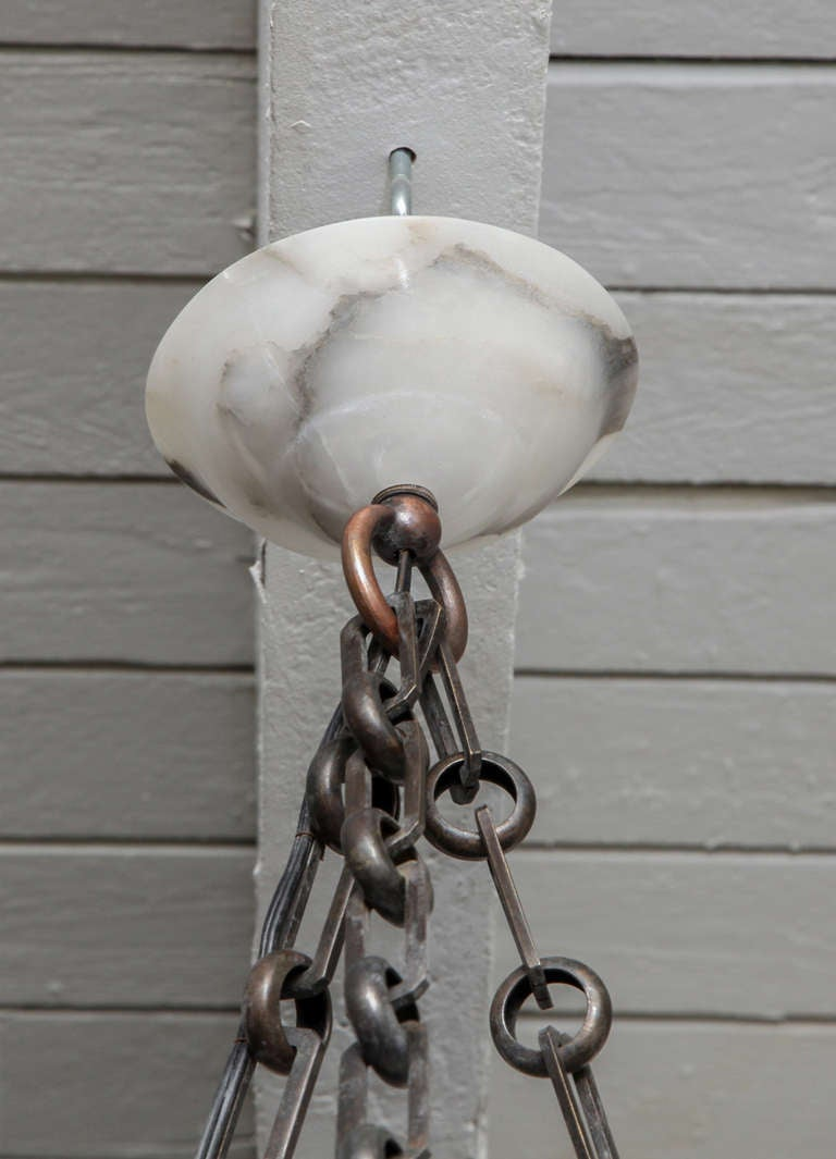 20th Century Alabaster Chandelier  For Sale 3