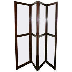 19th Century Mahogany and Glass Four Panel Screen