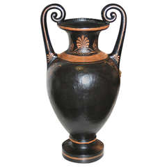 19th Century Black Painted Terracotta Amphora Shaped Vase