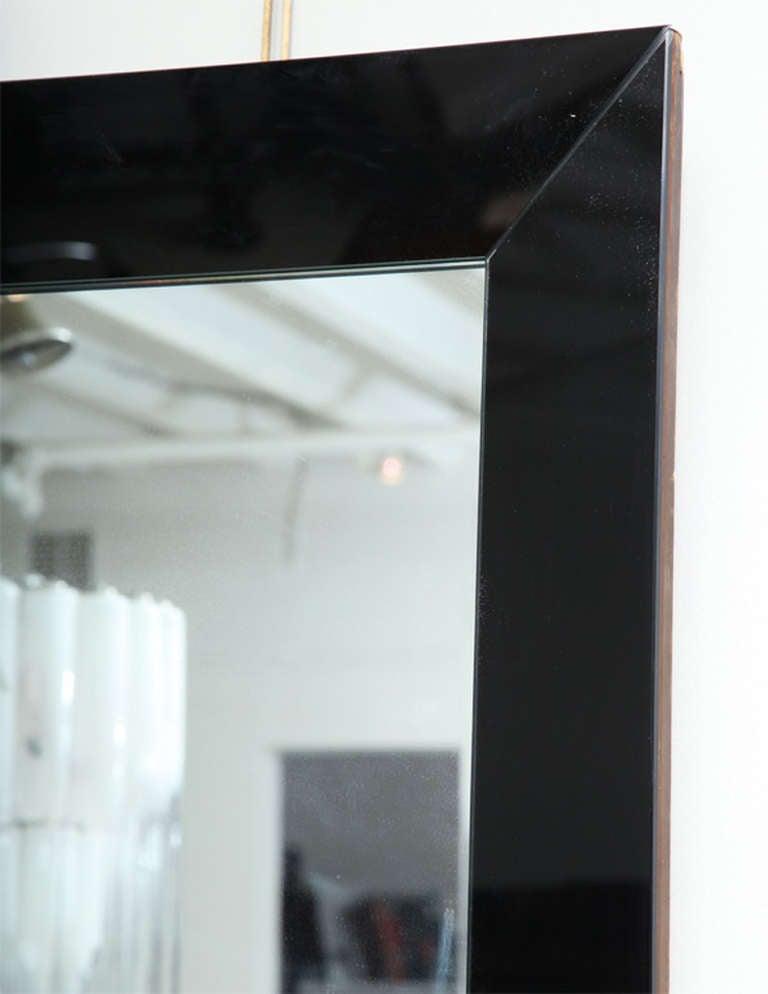 Mid 20th century venetian mirror with black mirror borders for Black venetian mirror