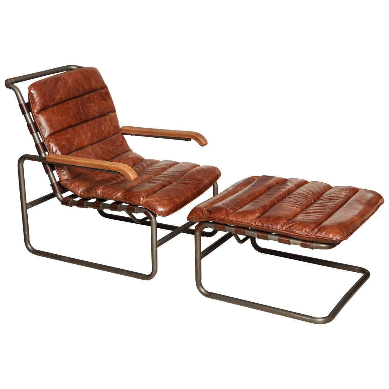 Bauhaus tubular steel lounge chair at 1stdibs - 20th Century Tubular Steel Chair And Ottoman Thonet 1