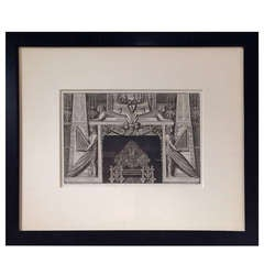 19th Century Piranesi Engraving Design for a Fireplace