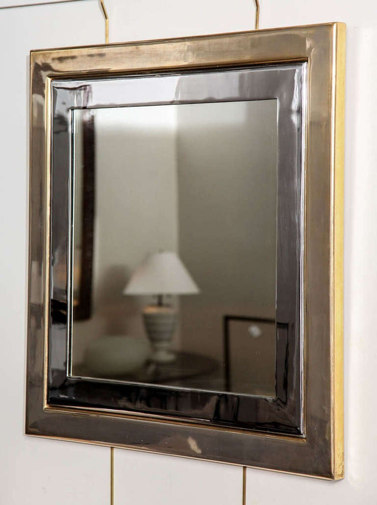 Late 20th Century Square Brass And Polished Chrome Mirror