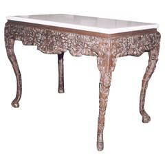 18th Century Padouk Wood Center Table with Marble Top