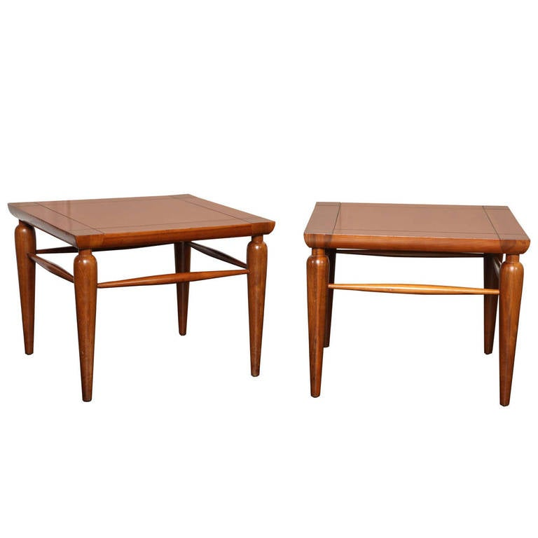 Pair of Mid-Century Walnut Tables For Sale