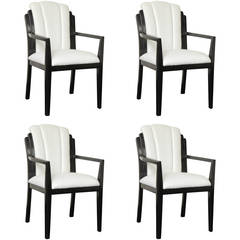 Set of Four Early 20th Century Ebonized Armchairs