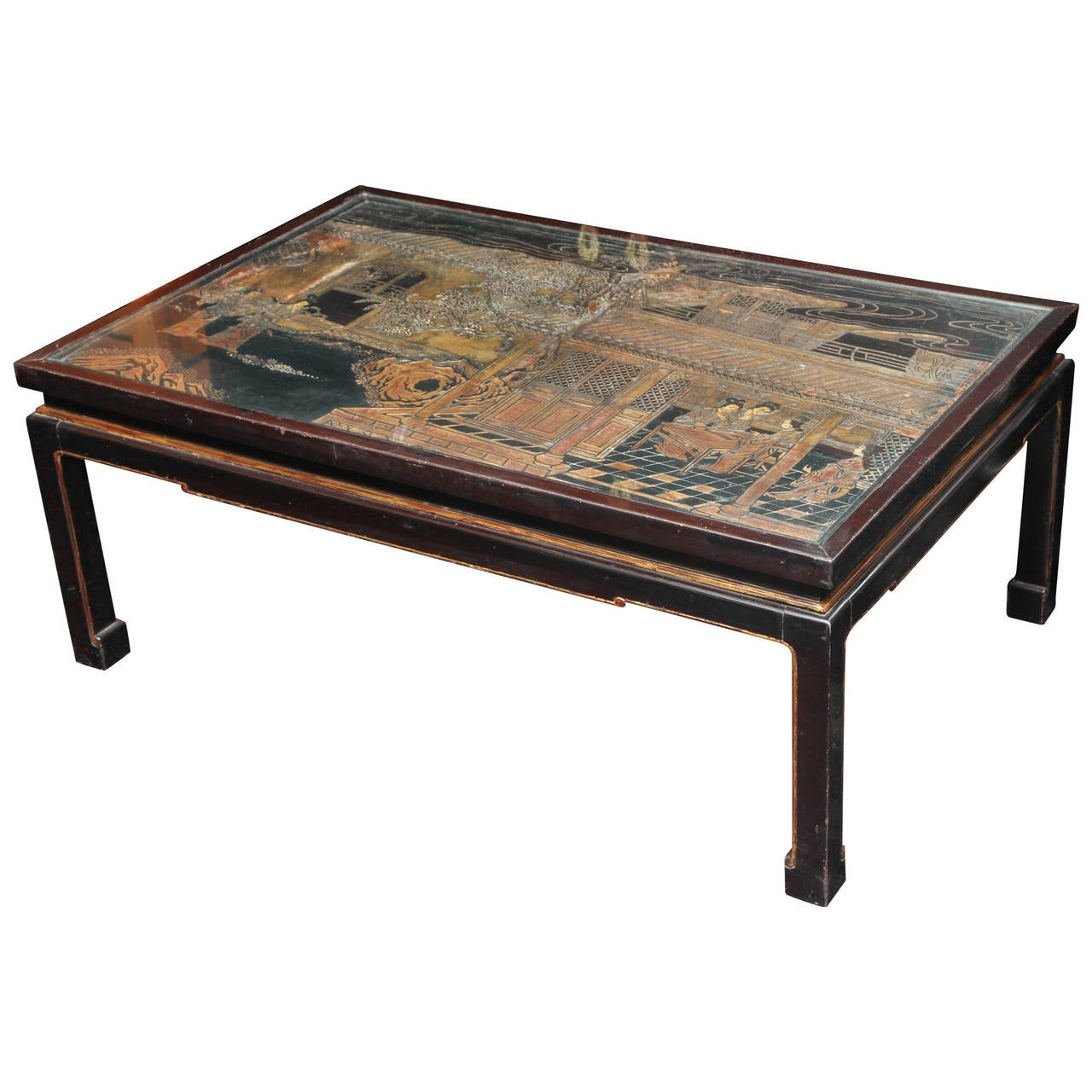 20th Century Black Chinoiserie Cocktail Table At 1stdibs