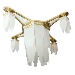 Grand Art Deco Chandelier Attributed to Gagneau