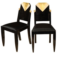 Pair of Art Deco Black Lacquer and Gold Leaf Chairs, France, circa 1920s