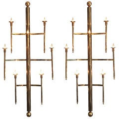 Pair of Oversized Vintage Brass Sconces