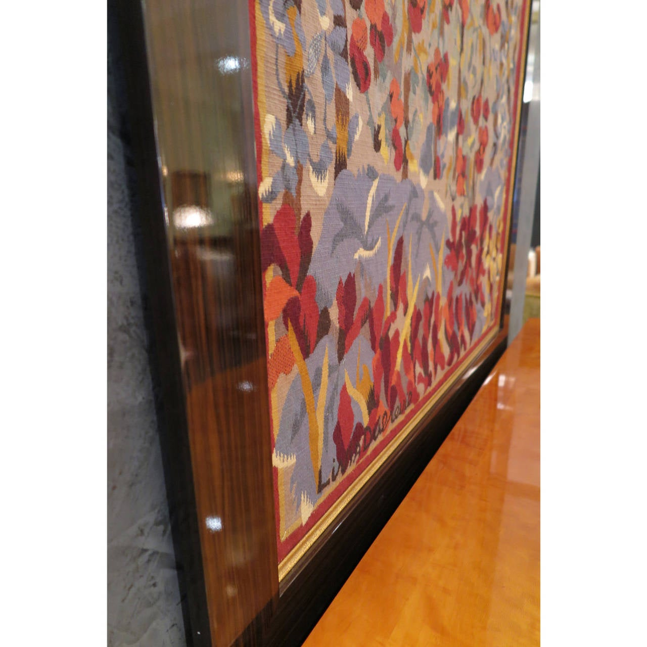 Beautiful woven Aubusson tapestry in wool stitch. Signed by Livia Dubreuil on bottom left, titled