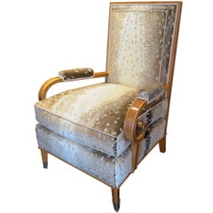 Leon Jallot Armchair in Fruitwood and Antelope Silk Velvet Print