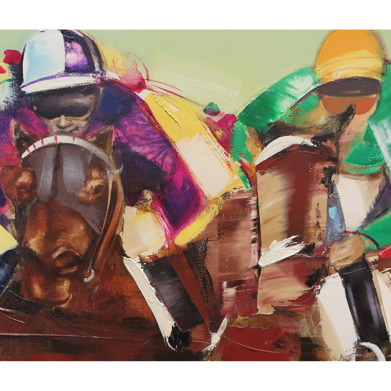 Exciting horse racing painting by Christian Jaureguy. Large-scale acrylic on canvas, titled