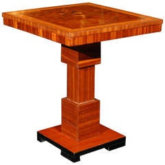 Rosewood and Burl Flower Marquetry Side Table