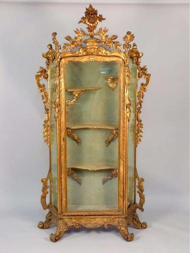 italian baroque style gilt wood display cabinet at 1stdibs
