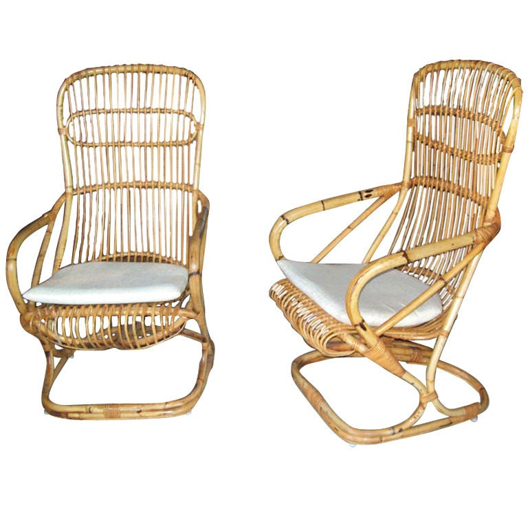 Pair Of Rattan Armchairs at 1stdibs
