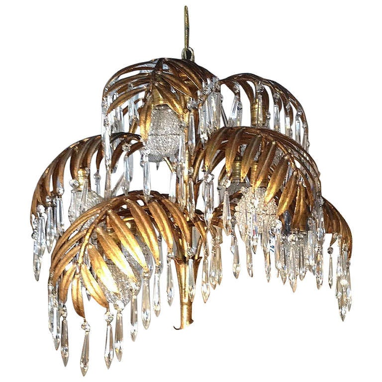 Mid Century Gilt Tole Palm Frond Chandelier At 1stdibs