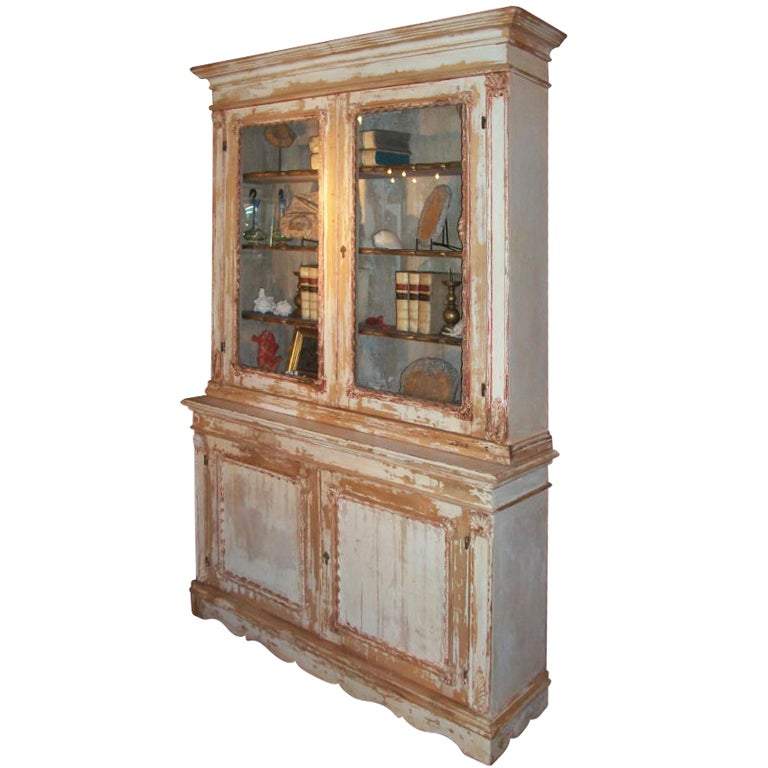 Carved Distressed Bookcase At 1stdibs