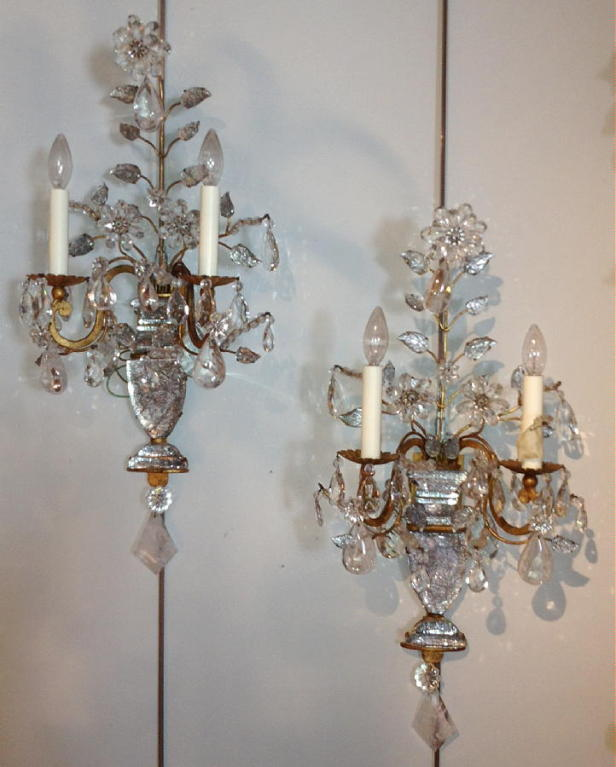 Lamps Plus Crystal Wall Sconces : Large Pair Crystal And Rock Crystal Bagues Sconces at 1stdibs
