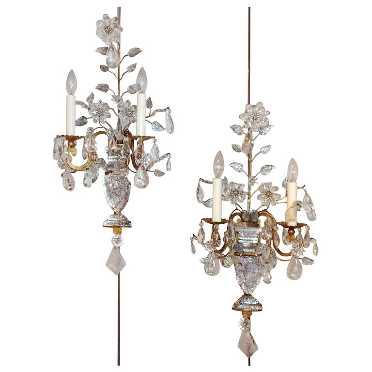 Large Crystal Wall Sconces : Large Pair Crystal And Rock Crystal Bagues Sconces at 1stdibs