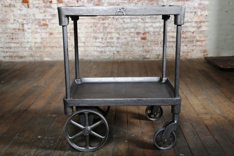 Original Vintage Two Tier Cast Iron Bar Cart Table Made In